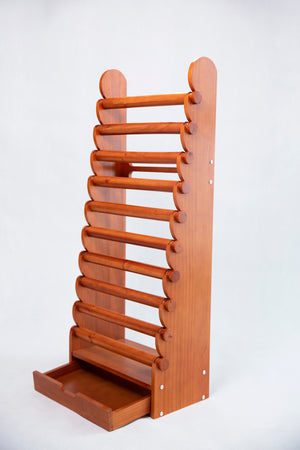 10 Tier Wood Bracelet Display Stand Countertop With Drawer