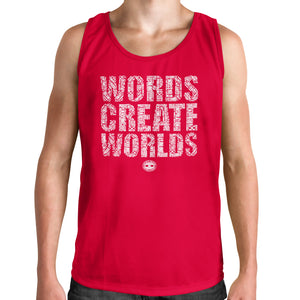 Men's Muscle Tank Words Create Worlds Graphic T-Shirt - Red