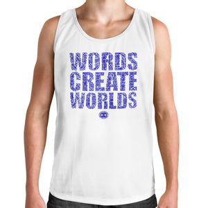 Men's Muscle Tank Words Create Worlds Graphic T-Shirt - White