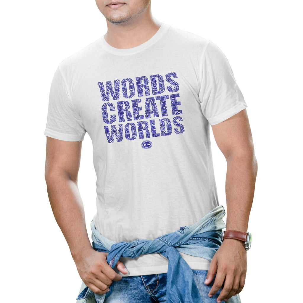 Men's Short Sleeve Words Create Worlds Graphic T-Shirt - White