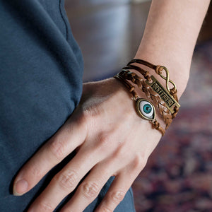 Evil Eye Best Friend Infinity Symbol Wrap Bracelet