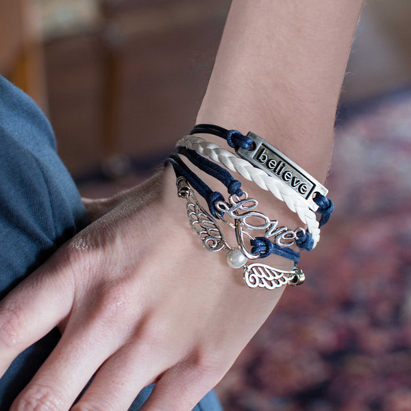 Navy Blue & White Leather & Wax Cord Wrap Bracelet with Silver Tone Infinity Symbol, Love, Believe & Wings Charms