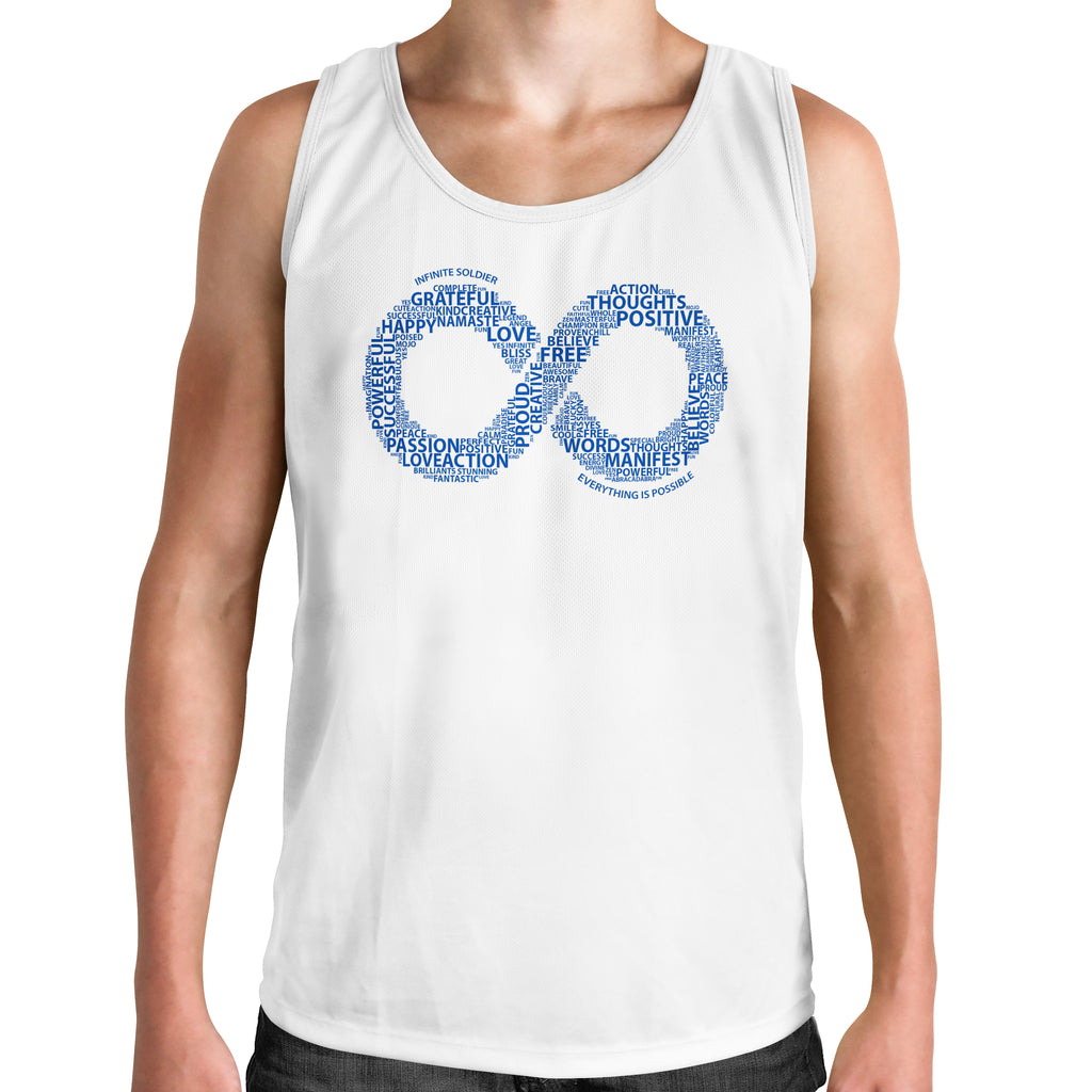 Men's Muscle Tank Infinity Word Art Graphic T-Shirt - White