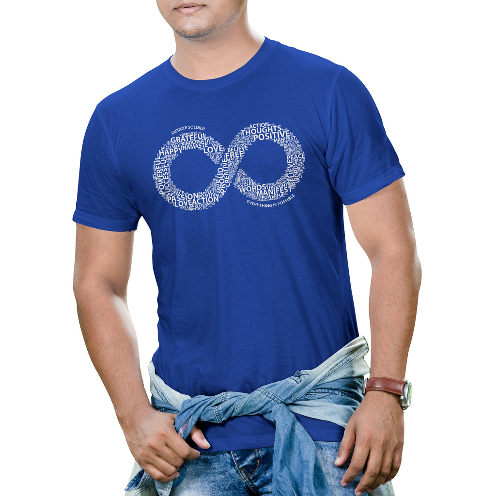 Men's Short Sleeve Infinity Word Art Graphic T-Shirt - Blue