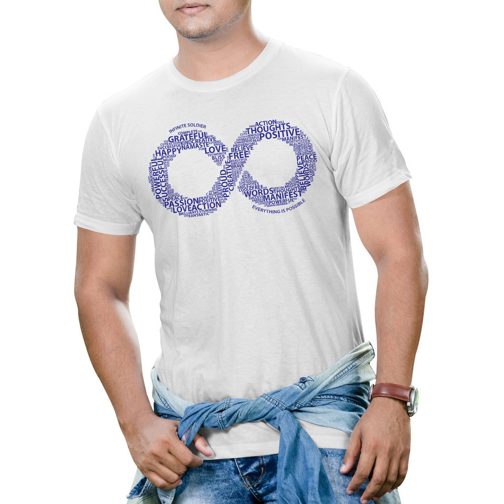 Men's Short Sleeve Infinity Word Art Graphic T-Shirt - White