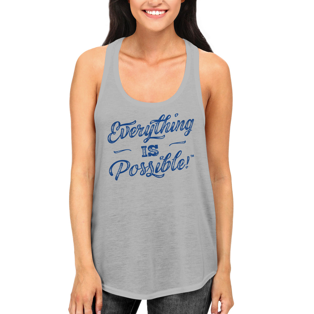 Ladies Everything is Possible Racerback Tank Top - Heather Gray