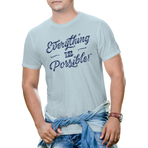 Men's Short Sleeve Everything is Possible Graphic T-Shirt - Light Blue