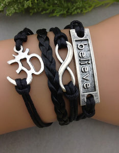 Black Leather Believe Retro Infinity Symbol Karma Wrap Bracelet