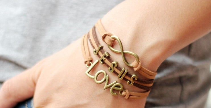 Brown Leather & Wax Cord Infinity Symbol Jesus Love Bracelets with Bronze Color Charms
