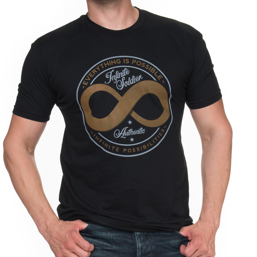Men's Authentic Infinity Symbol Black Graphic T Shirt