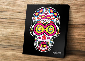 Sugar skull to Infinity stretched mounted canvas prints