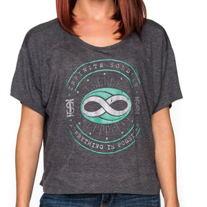 Ladies Constellation Infinity Dark Gray Heather Flowy Cropped T-Shirt