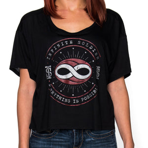 Ladies Constellation Infinity Black Flowy Cropped T-Shirt