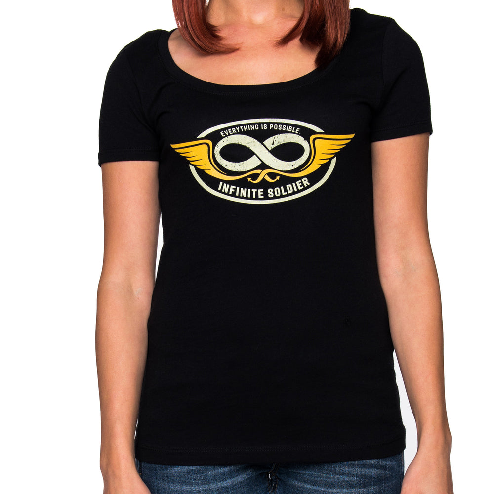 Infinity Wings Ladies Black Scoop Neck Graphic T-Shirt