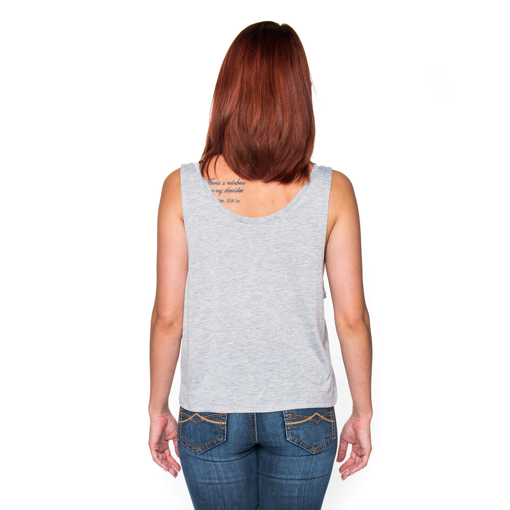 Infinity Stamp Ladies Heather Gray Cropped Tank Top