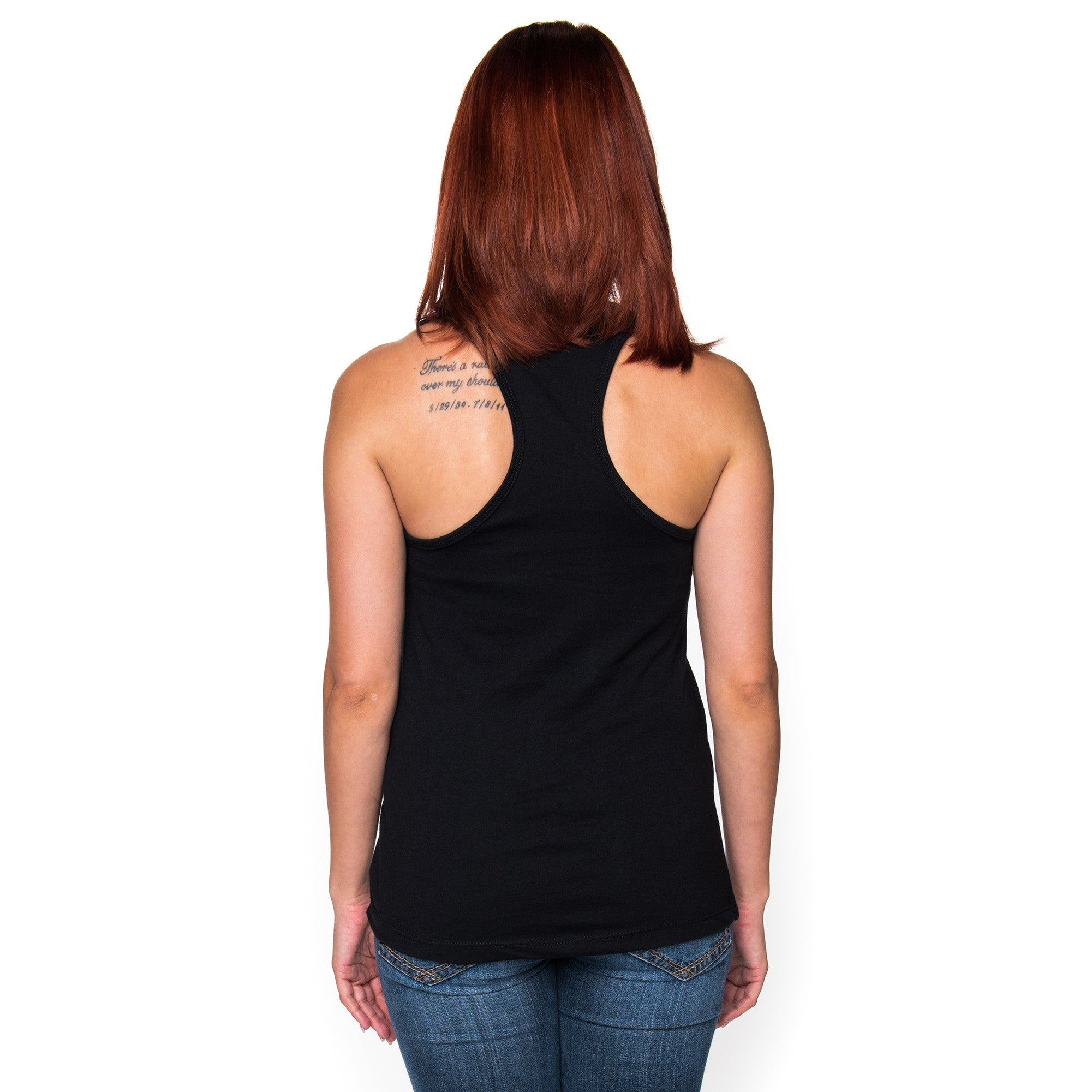 Ladies Gothic Infinity Black Racerback Tank Top with Rose Gold Ink