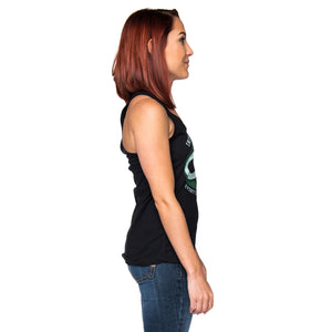 Ladies Infinite Soldier Logo Racerback Tank Top - Black with Green Logo
