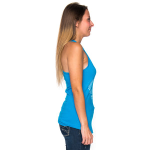 Ladies Infinity Dot Pattern Racerback Tank Top - Turquoise