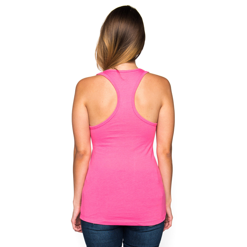 Ladies Infinity Dot Pattern Racerback Tank Top - Hot Pink