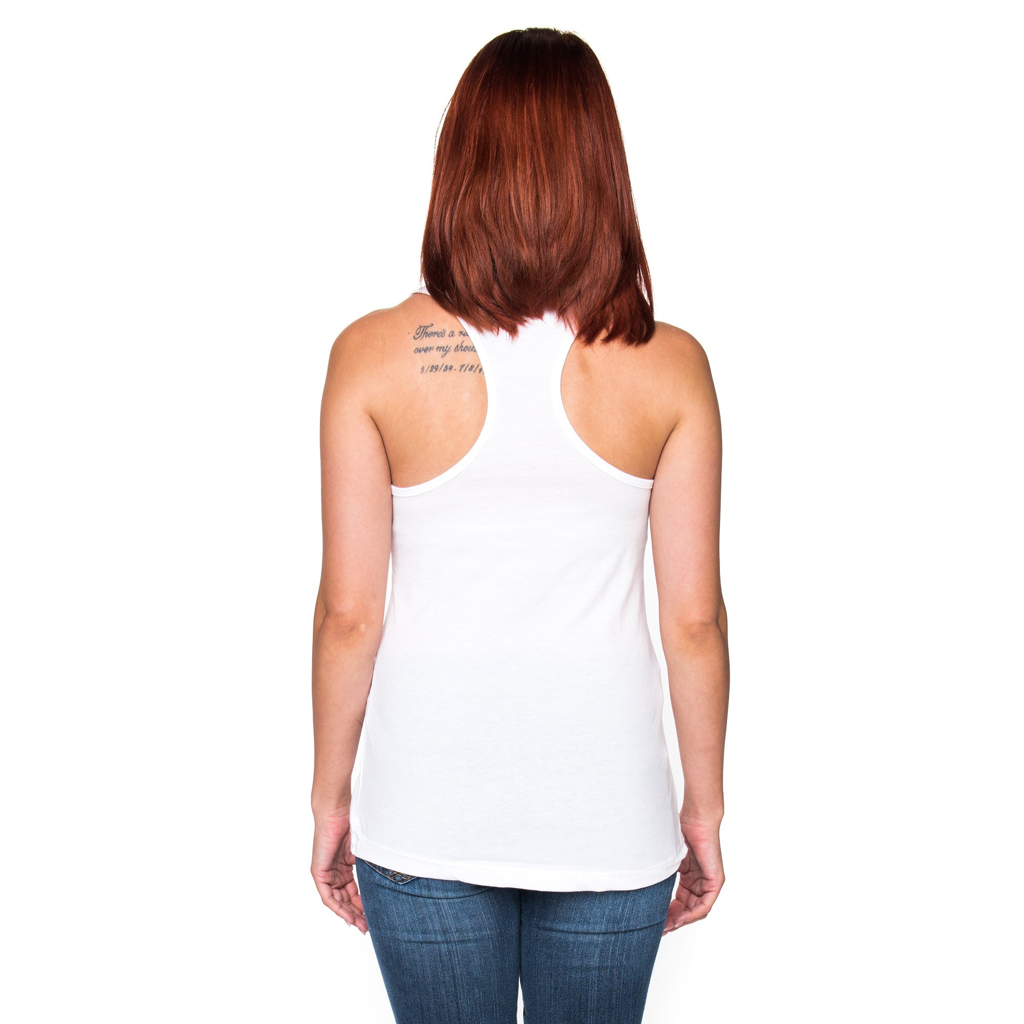 Ladies Infinite Soldier Logo Racerback Tank Top - White with Blue Logo