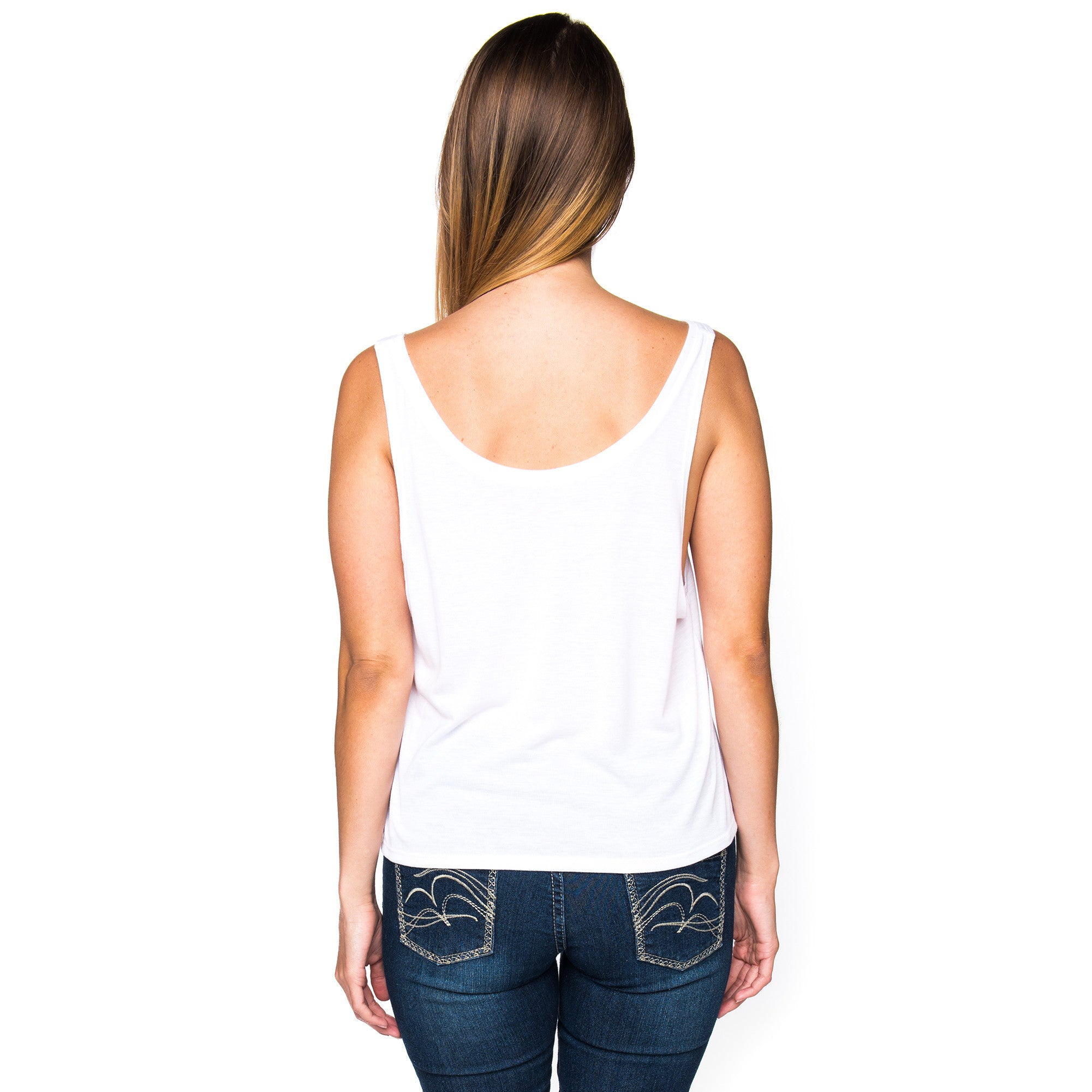 Infinite Circle of Peace Ladies White Cropped Tank Top