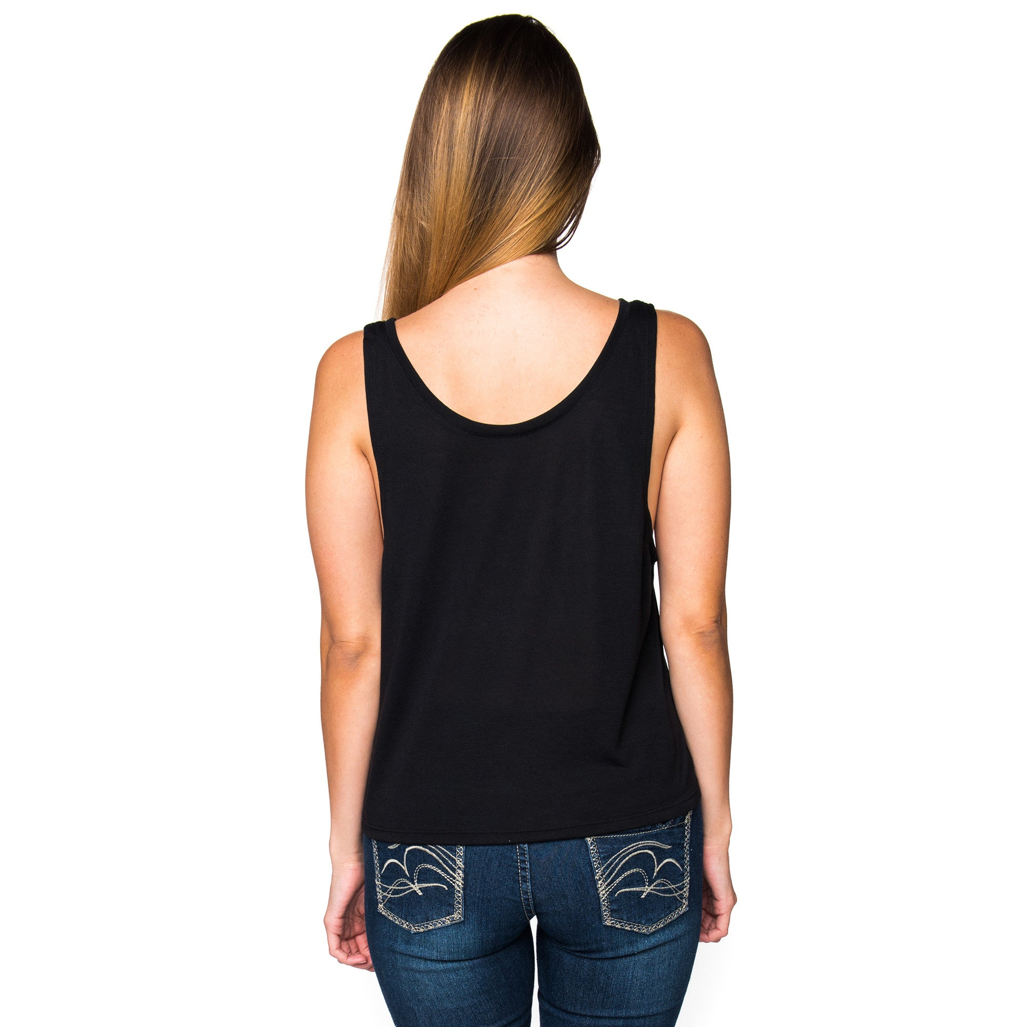 Ladies Infinity Authentic Black Cropped Tank Top