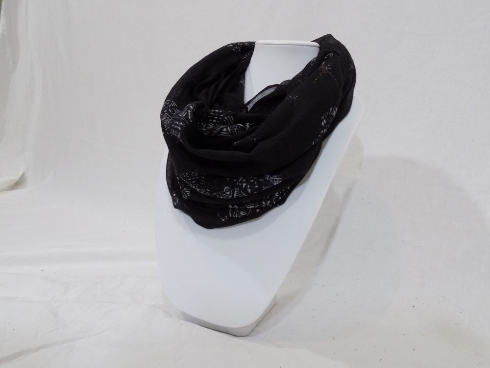Black Infinity Scarf with White Skull Pattern and Metal Stud Crosses