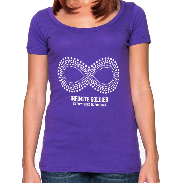 Ladies Infinity Dot Pattern Short Sleeve Scoop Neck Tee - Purple Rush