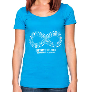 Ladies Infinity Dot Pattern Short Sleeve Scoop Neck Tee - Turquoise