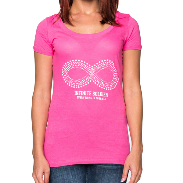 Ladies Infinity Dot Pattern Short Sleeve Scoop Neck T-Shirt - Hot Pink