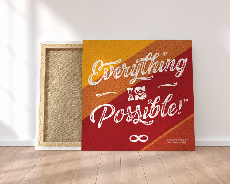 Gold Everything Is Possible Square Mounted Canvas Poster