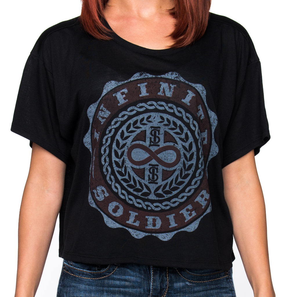 Ladies Infinity Emblem Black Flowy Cropped Tee