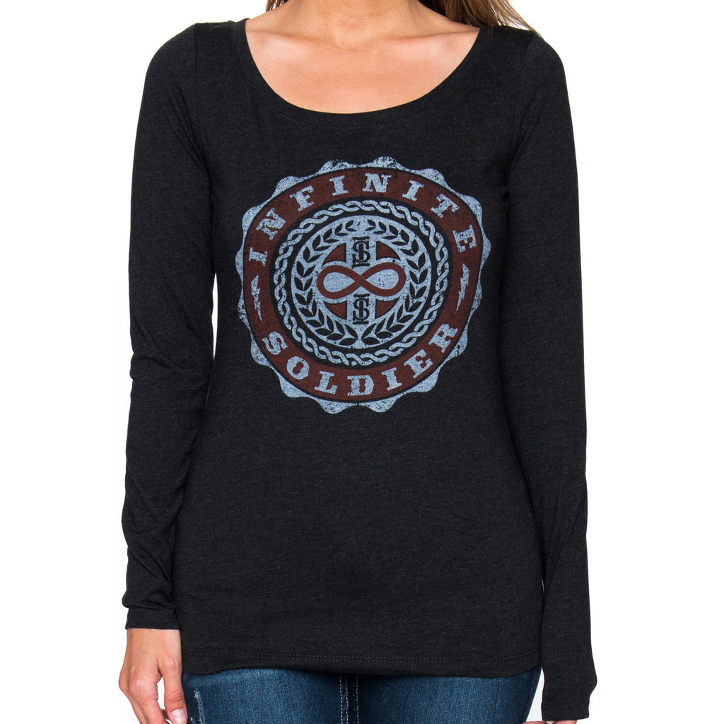 Ladies Infinity Emblem Vintage Black Long Sleeve Tee