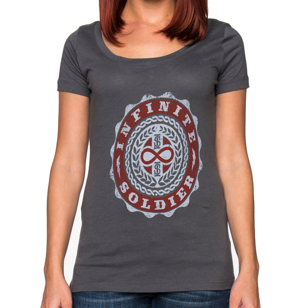Ladies Infinity Emblem Short Sleeve Dark Gray Scoop Neck Tee