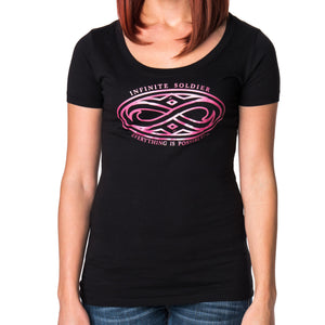 Ladies Gothic Infinity Black Scoop Neck Graphic T-Shirt with Hot Pink Ink