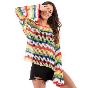 Summer Streetwear Stripped Women's Long Sleeve Knitwear Rainbow Knitted Fishnet Top
