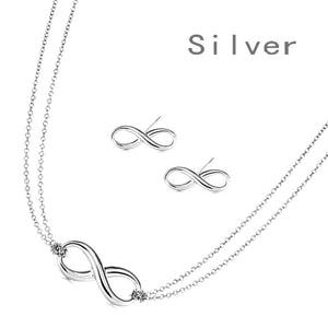Bowknot Infinity Symbol Necklace & Earring Set in Gold or Silver