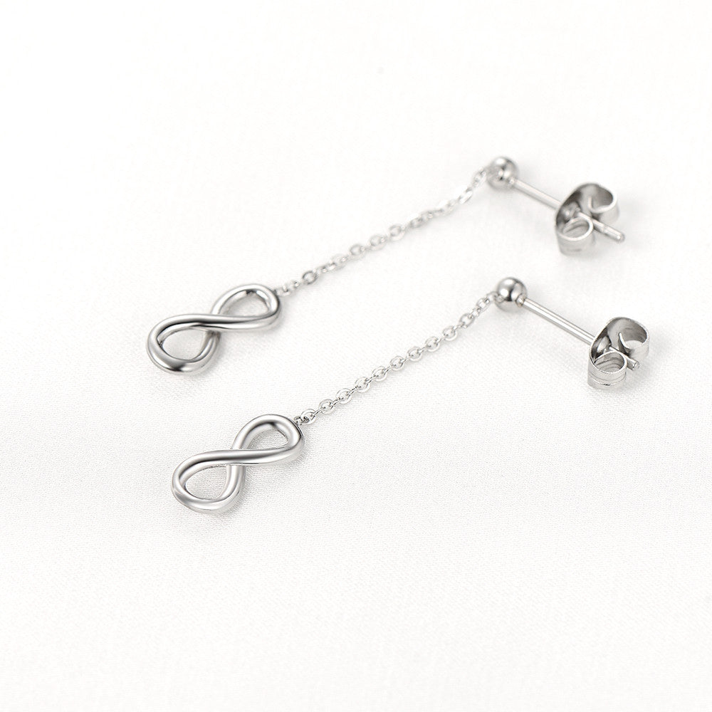 Dangling Chain Link Stainless Steel Infinity Earrings