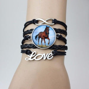 Infinite Love Wrap Bracelets with Horse Photo Charm