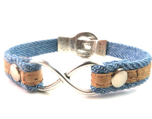 Denim & Portuguese Cork Infinity Bracelet with Magnetic Clasp