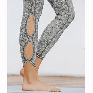 Ladies Yoga Infinity Symbol Cropped Leggings / Yoga Leggings / Pants - Light Gray