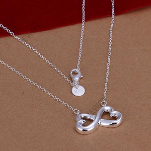 Heart to Heart Infinity 925 Sterling Silver Pendant Necklace