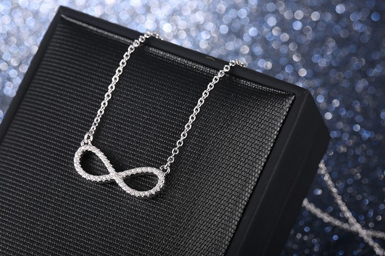 Sparkling Crystal Infinity Necklace on 925 Sterling Silver Chain