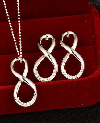 Silver Infinity Symbol Necklace & Earring Set