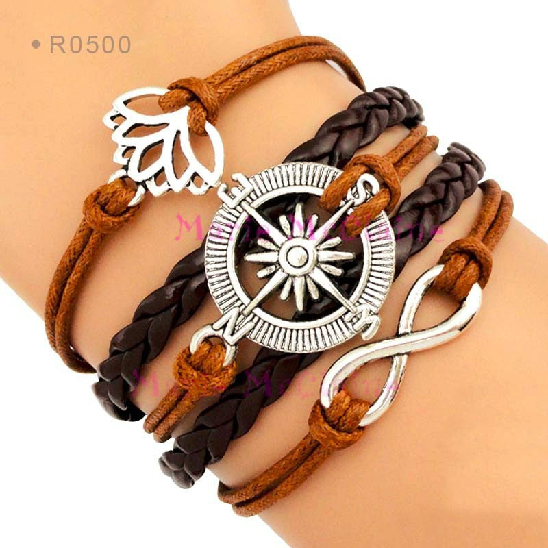 Wax Cord & Leather Wrap Bracelet with Infinity, Lotus & Compass Charms