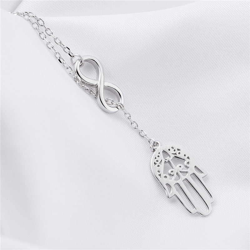 Hamsa Infinity 925 Sterling Silver Necklace for Ladies
