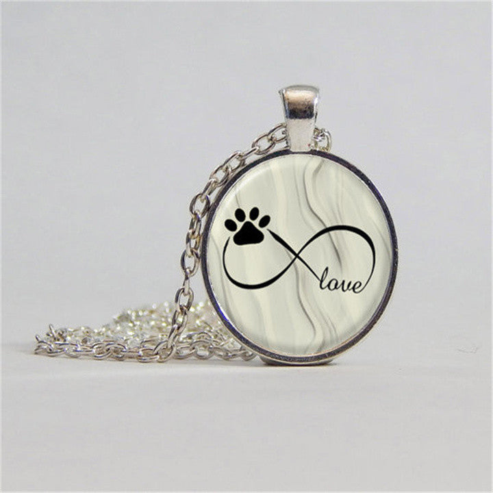 Dog Paw Infinite Love Statement Pendant Necklace