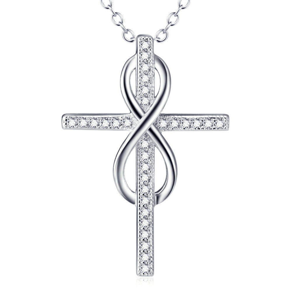 Faith Genuine Sterling Silver Infinity Cross Pendant Necklace