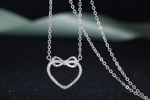 Authentic 925 Sterling Silver Infinity Heart Necklace with Crystals