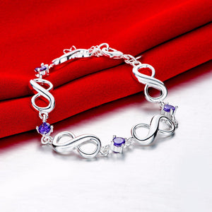 Purple Zirconia 925 Sterling Silver Plated Infinity Bangle Bracelet